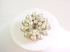 Atomic Era pearl cluster brooch with Aurora Borealis by SellTheOld