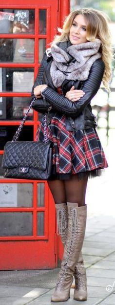 Fall outfit. Tartan dress, leather jacket,, long over knee boots Sexy Winter Skirt Outfit Ideas (48)