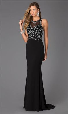 Long Black Beaded Cheap CD-1106 Evening Dresses 2015