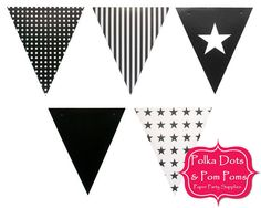 50 BLACK Noir Gloss Paper BUNTING Flags / by PolkaDotsandPomPoms