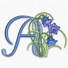 """This free embroidery design from Cute Alphabets' """"Meadowy Flower Font"""" collection is the letter A."""