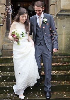 Wool you marry me? Lydia with her with husband Ashley in the wedding dress she knitted herself