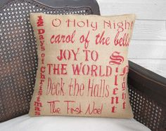 Christmas Carols - Burlap Christmas Pillow by nextdoortoheaven on Etsy https://www.etsy.com/listing/109548770/christmas-carols-burlap-christmas-pillow