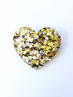 Lush Gold Heart Brooch by EachToOwn on Etsy School Run Style, Heart Flutter, Heart Of Gold, Slow Fashion, Lush, Silver Plate, Amber, Valentines Day, Hearts