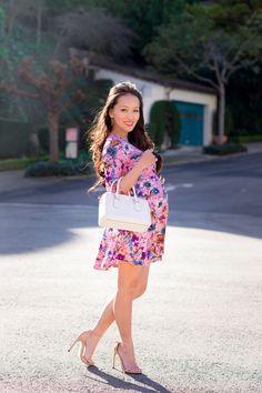 4ff9d339611b2 petite maternity, floral dress, skater dress, floral maternity dress, fashion  blog,