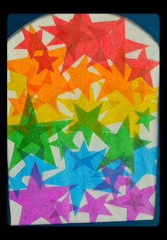 Twig and Toadstool: Rainbow STAR Transparencies! Could be used during the story of Abraham as God would multiply his descendants like the stars in the sky Diy And Crafts, Crafts For Kids, Arts And Crafts, Paper Crafts, Toddler Crafts, Rainbow Star, Rainbow Colors, Welcome Wreath, Window Art