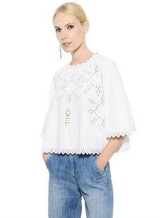 EMBROIDERED COTTON POPLIN TOP Luxury Shop, Poplin, Tunic Tops, Blouse, Spring, Long Sleeve, Sleeves, Cotton, Women