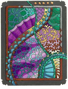 Made with embossing powder and Gel Pens. This is one of my favorites Gel Pen Art, Gel Pens, Doodles Zentangles, Zentangle Patterns, Zen Doodle, Doodle Art, Embossing Powder, Smart Art, Doodle Drawings