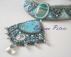 "Beaded, Bead Embroidered Necklace with Larimar - ""Polar lights"". on Etsy, $365.00"