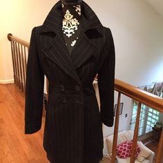 bebe coat Excellent condition, black color with the thin baby blue strips. I love this coat, butt it is a little small on me bebe Jackets & Coats