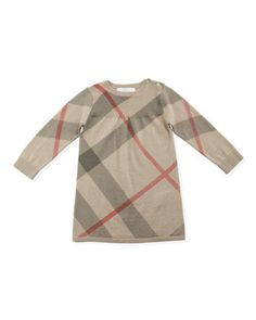 Check Cashmere/Cotton Sweater Dress, 3-24 Months  by Burberry at Neiman Marcus.