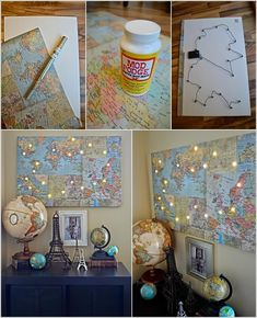 Amazing Interior Design 15 DIY Canvas Art Ideas You Would Love to Try art ideas diy Map Crafts, Travel Crafts, Diy And Crafts, Art Ideas For Teens, Diy Foto, Travel Wall, Travel Room Decor, Diy Canvas Art, Travel Themes