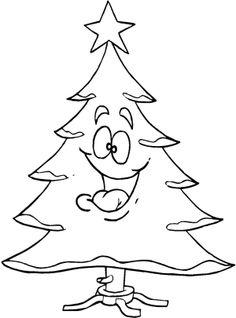 Smile Christmas Tree Coloring Page