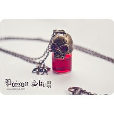 Gothic Skull poison glass bottle Necklace. SELECT YOUR COLOR Glass... ($19) ❤ liked on Polyvore featuring jewelry, necklaces, accessories, colar, glass pendant, pendant jewelry, skull jewelry, gothic jewelry and skull pendant