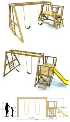 35 Stunning Diy Playground Concepts To Make Your Children Glad Concepts - playground natural playgrounds ideas for kids playground playground ideas concept criativo Backyard Swings, Backyard For Kids, Diy For Kids, Backyard Ideas, Backyard House, Garden Kids, Wooden Swing Set Plans, Wooden Swings, Kids Outdoor Play