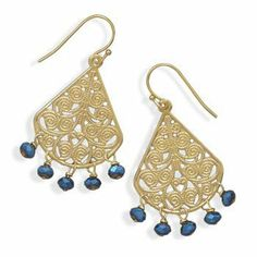 Ornate Gold Plated and Blue Glass Bead Fashion Earrings Forza Jewelry. $13.99. Save 52% Off!
