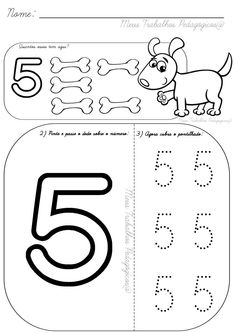 Number 5 tracing and colouring worksheet for kindergarten