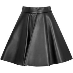 Womens Pleated Skirts MSGM Black Leather Effect Wool Blend Skater... ($365) ❤ liked on Polyvore featuring skirts, pleated skater skirt, flare skirt, skater skirt, black skater skirt and black skirt