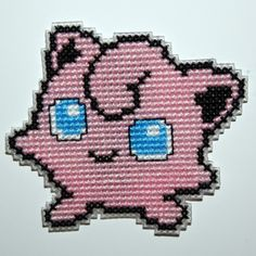 Cross stitch Jigglypuff Pokemon magnet