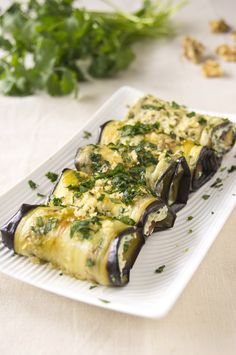 Eggplant Rolls with Cream Cheese, Walnuts and Cilantro | DivineCuisine
