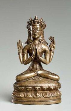 VIERARMIGER SHADAKSHARI LOKESHVARA - Bronze. Tibet, 15. Jh. - - Eine sehr gute[...]