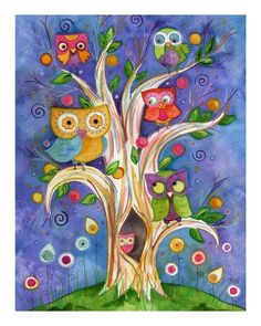 owl painting lauren alexander on etsy Counted Cross Stitch Patterns, Cross Stitch Designs, Wal Art, Owl Always Love You, Owl Crafts, Wise Owl, Owl Bird, Whimsical Art, Art Projects