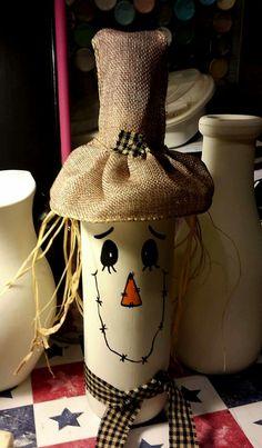 Wine bottle scarecrow