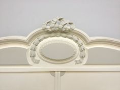 FRENCH ANTIQUE LOUIS STYLE PAINTED BED. Farrow & Ball Lime White with Pavillion Gray