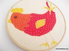 Little red hen embroidery hoop art Textile wall art by ThimbleHoop