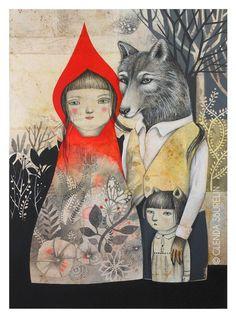 Artist: Glenda Sburelin - Little Red Riding Hood and Other Wolfish Things. Art And Illustration, Food Illustrations, Charles Perrault, Red Ridding Hood, Fairytale Art, Little Red, Storyboard, Illustrators, Folk Art