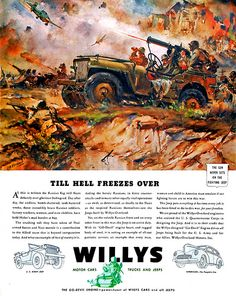 Willys- Till Hell Freezes Over by James Ashton Transportation Art Print - 23 x 30 cm Military Jeep, Military Art, Military History, Military Vehicles, Military Aircraft, Old Jeep, Jeep Tj, Jeep Wrangler, Vintage Jeep