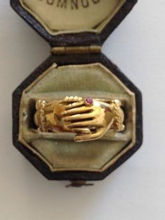 RARE Museum Quality Early Victorian Fede Gimmel Clasped Hand Ring Circa 1850   eBay
