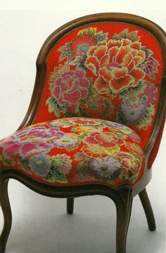 Red flower needlepoint chair   by Kaffe Fasset.