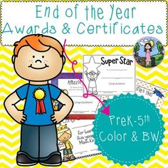 Included in this HUGE packet are 75 end of the year awards and certificates for students in grades preschool-5th grade. Each certificate can be copied as many times as you need for your classroom and your students only.   *** All awards are also available in black and white so you can print on color paper and save your color ink! ***  Included in this packet are the following certificates and awards: → Math Queen → Math King → Most Improved Reader (girl and boy certificate) → Great Friend →…