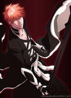 We have Ichigo he's a shinigami, hollow, quincy hybrid XD Bleach Anime, Bleach Ichigo Bankai, Bleach Fanart, Anime Guys, Manga Anime, Anime Art, Bleach Characters, Anime Characters, Ichigo Kurosaki Wallpaper