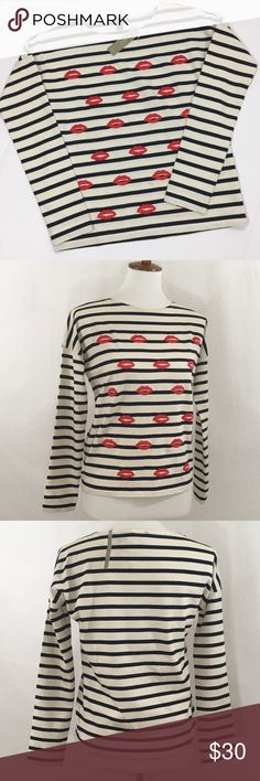 "🎉2x HP🎉J. Crew Striped Long Sleeve Tee New with tags J. Crew long sleeve striped tee embellished with embroidered red lips on the front. Stripes are navy against an off white background. Size XXS (loose fit, would work as XS). 100% cotton Approximate measurements (flat lay): bust 21"" / waist 17.5"" / length 22"" / 20"" J. Crew Tops Tees - Long Sleeve"