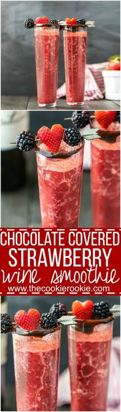 This Chocolate Covered Strawberry Wine Smoothie only has THREE INGREDIENTS! So tasty, easy, and refreshing! The best Valentine's Day cocktail recipe! SO EASY!