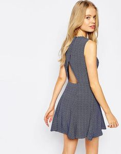 Jack Wills Dress With Open Back - Navy #dress #women #covetme #jackwills