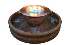 "The Outdoor Plus - FT 6000 Fire and Water Feature. 30"" copper pot with four waterfalls and 12"" fire ring."