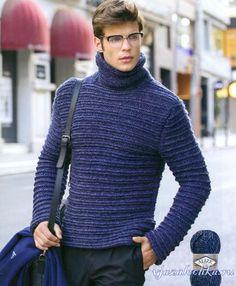 Синий пуловер для мужчин спицами