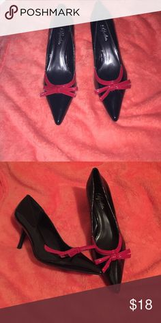 Patent Black Pointed Pumps with a fancy red bow Amazing for a formal or business causal event. Never worn, great deal. Paprika Shoes Heels