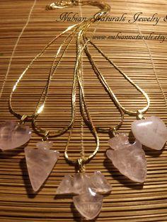 Rose quartz Chained Pendants by nubiannaturals on Etsy