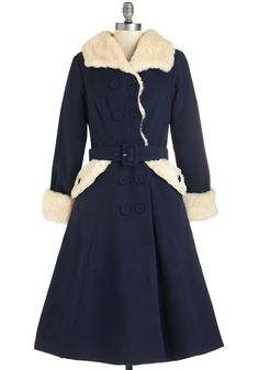Reach Fur the Stars Coat. Glow under the starlit sky in this exquisite navy-blue coat. #blue #modcloth