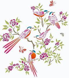 Small Chinoiserie Birds Stencil