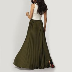 Spring 2017 New Arrival Fashion Designer Elegant Ladies Elastic Waist Pleated Maxi Skirt - free shipping worldwide