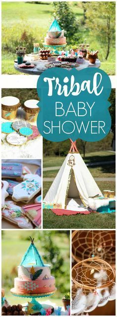 This tribal baby shower celebrates their Native American heritage! See more party ideas at http://CatchMyParty.com!