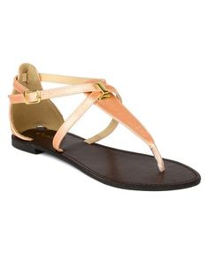 9e0d3acd8d0 Qupid BK85 Women Embossed Leatherette Shiny Strappy Thong Flat Sandal Nude  Size 90