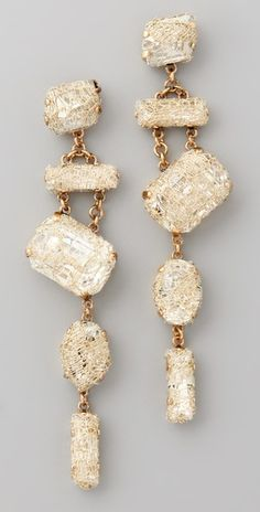 super love.  Erickson Beamon  Smoke & Mirrors Earrings  24k gold-plated Swarovski crystals with gauze overlays  shopbob $315