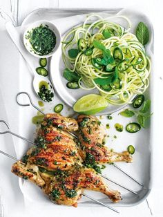 Char Grilled Lemongrass And Mint Spatchcocks With Zucchini Noodles | Donna Hay