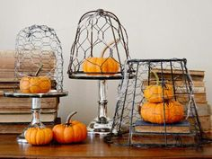 A metal lamp frame and chicken wire are repurposed for this simple project that can be decorated for all seasons. Paint them black and add artificial spiders to create a creepy cobweb effect that is perfect for Halloween.
